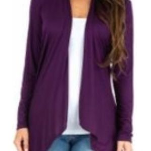 Nwot rags and couture light cardigan eggplant